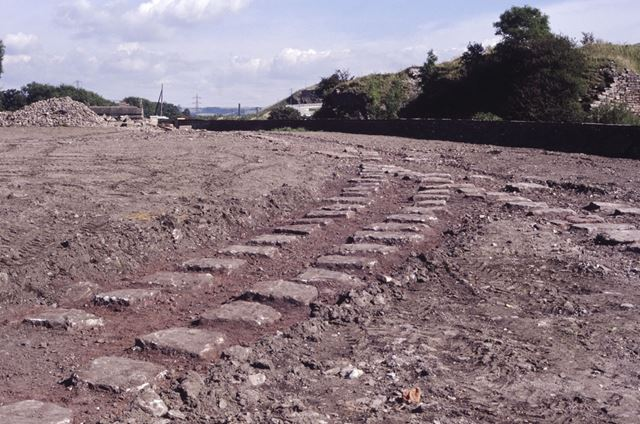 Remains of Peak Forest Tramway track at canal basin, Buxworth, 1990
