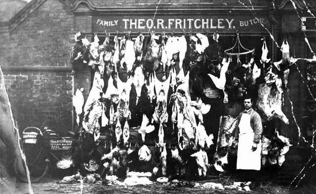 Theo R Fritchley, Family Butcher, Market Street, Draycott, c 1910s ?