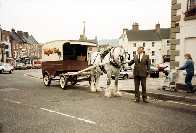 Wright's Pie Man and Wagon, Market Place, Asbourne, 1987