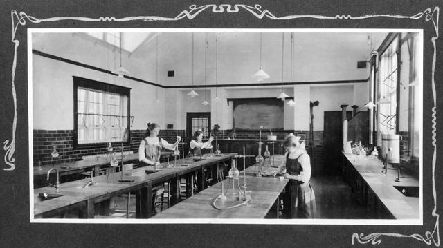 County Secondary School Interior - Laboratory. Long Eaton