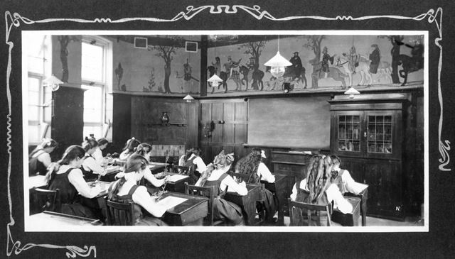 County Secondary School Interior - Girls in a classroom decorated with a mural of Chaucer's Canterbu