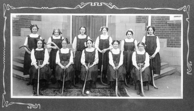 County Secondary School exterior - Girls Hockey Team