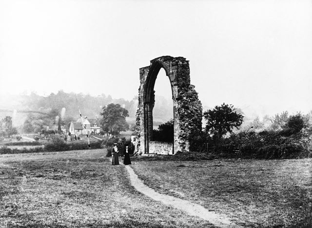 The abbey arch viewed from the north east, and Dale church