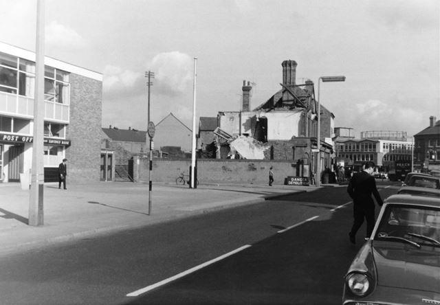 Site clearance for the construction of the Trustees Savings Bank, next to the Main Post Office