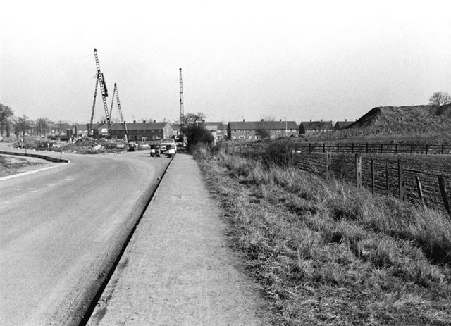 Construction of the M1 Motorway embankment and bridge over Longmoor Road