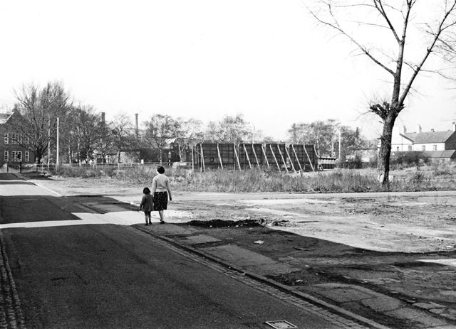 Wasteground on Lower Brook Street prior to the construction of Romorantin Place Flats