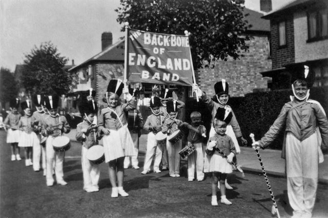 The 'Backbone of England' Marching Band at Long Eaton Carnival, 1930