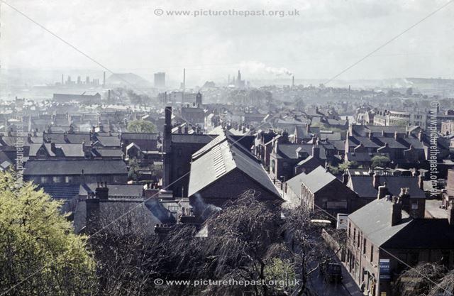 Aerial view of the Market Street area, Ilkeston, looking south towards Stanton Iron Works