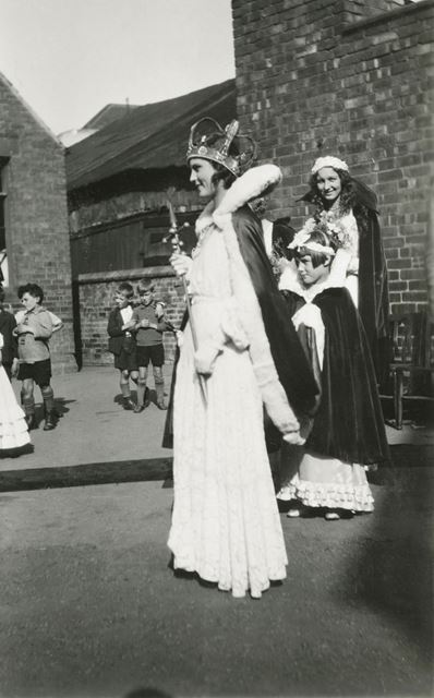 Carnival Queen and Retinue visit the National School, Claye Street, Long Eaton, 1932