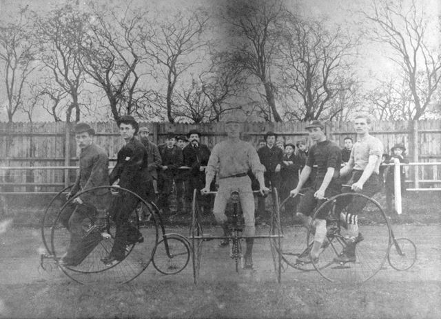 Cyclists at a race meeting, Long Eaton Recreation Ground, Station Road?, Long Eaton, 1885