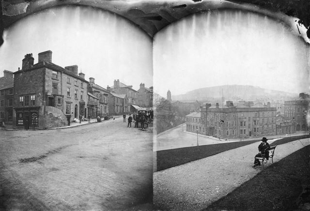 Double photograph of Spring Gardens-Terrace Road junction, and the Old Hall Hotel