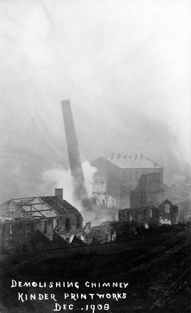 Demolishing chimney at Kinder Printworks