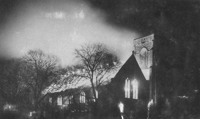 All Saints' Church being destroyed by fire, Christmas Eve, 1949
