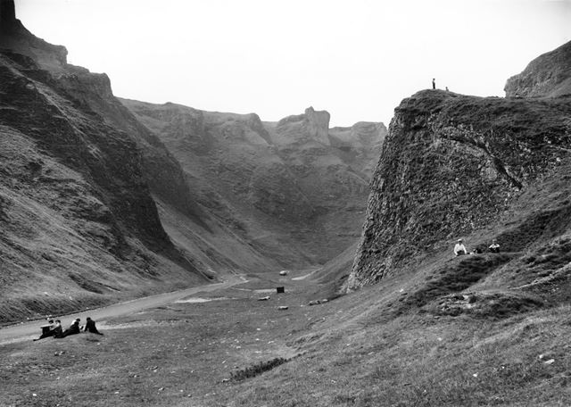 A group of School children resting in Winnats Pass