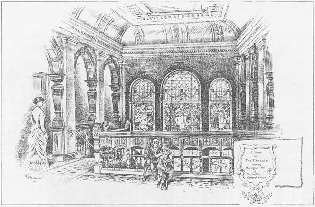 Smedley's Hydro - Interior sketch of The Stair Case showing the upper part of Smedley's memorial win
