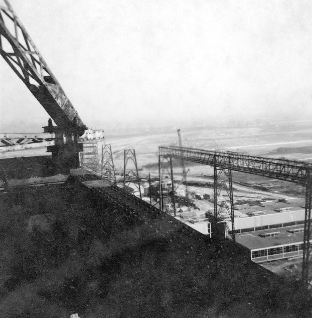 Willington Power Station, during construction showing railway lines