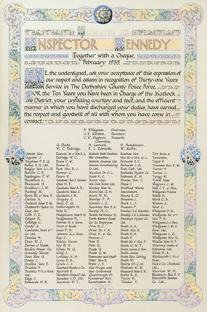 Illuminated address presented to Inspector T J Kennedy of the Derbyshire County Police Force, Matloc