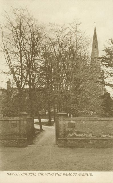 'Sawley Church, showing the famous avenue'