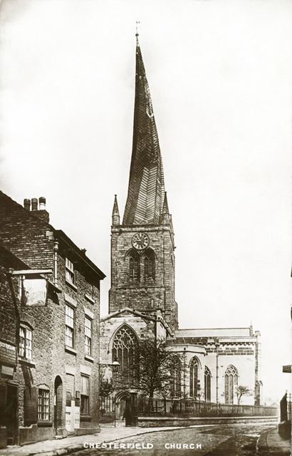 Parish Church (crooked spire) from St Mary's Gate
