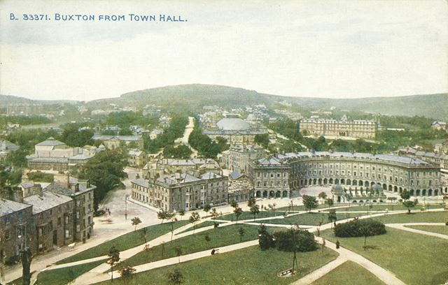 A view of Buxton from the Town Hall, including The Crescent and the Slopes