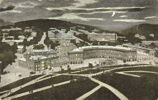 A view of Buxton and the Crescent from the Slopes, by moonlight