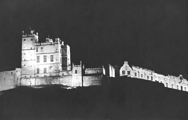Bolsover Castle by night (floodlit for the first time as part of the George V silver jubilee celebra