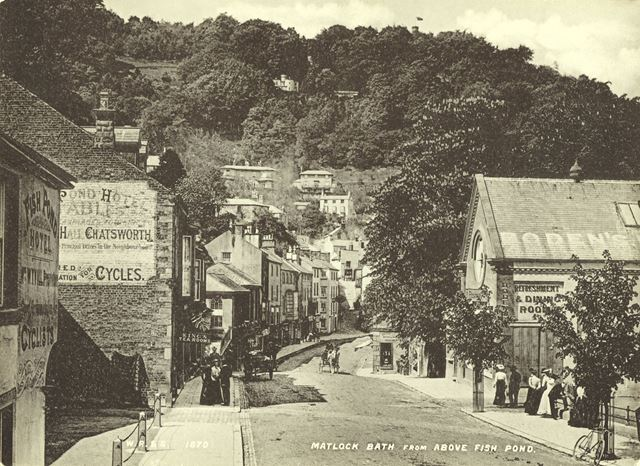 View of Matlock Bath, showing Boden's Refreshment rooms, Fish Pond Hotel and Heights of Abraham.