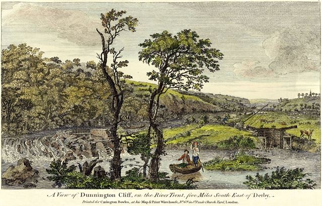'A View of Dunnington Cliff (sic), on the River Trent, five miles SE of Derby'