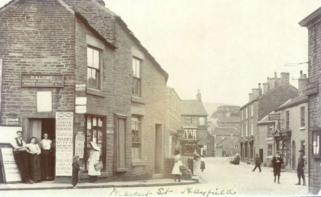 Lowe's Newsagents and Both's Cobbler's, Market Street, Hayfield, c 1900