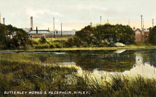 Butterley Works from Butterley Reservoir, c 1900s