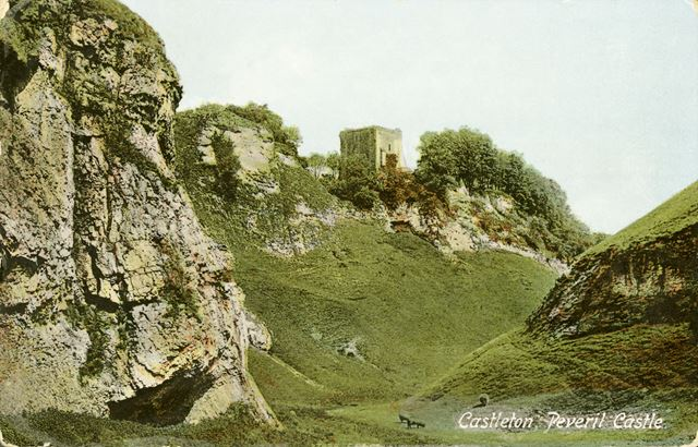 Peveril Castle, looking from Cave Dale