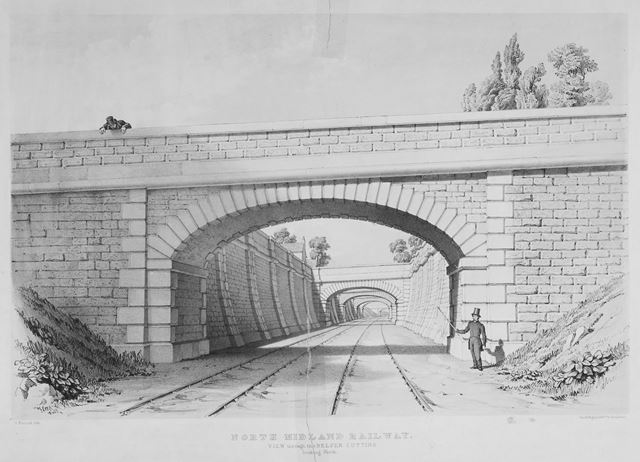 North Midland Railway - view through the Belper cutting looking North