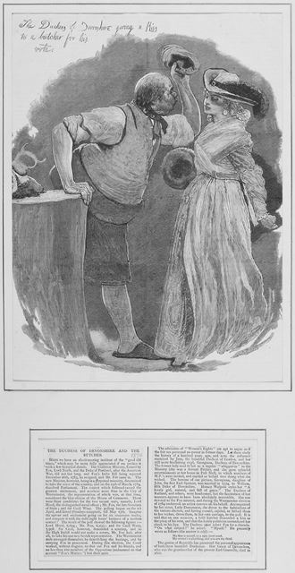 'The Duchess of Devonshire giving a kiss to a butcher for his vote'