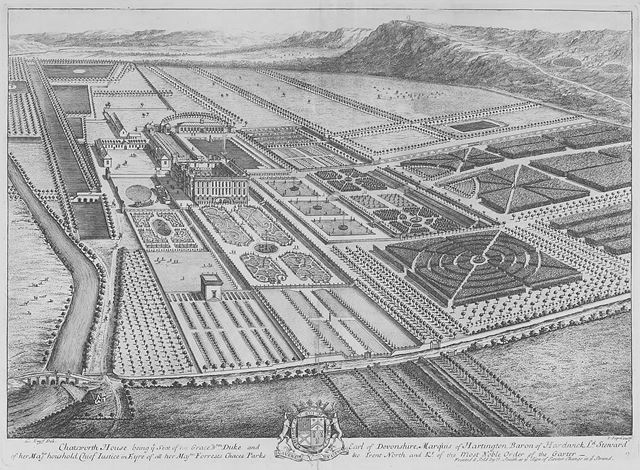 Engraving of Chatsworth House and ornamental gardens