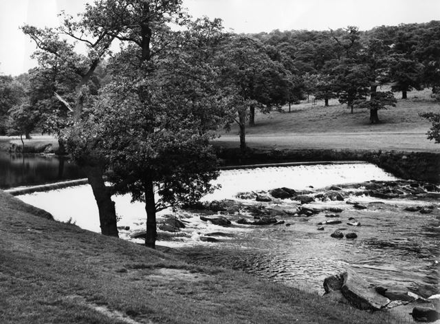 Weir on the River Derwent, Chatsworth Park, Chatsworth, c 1950s?