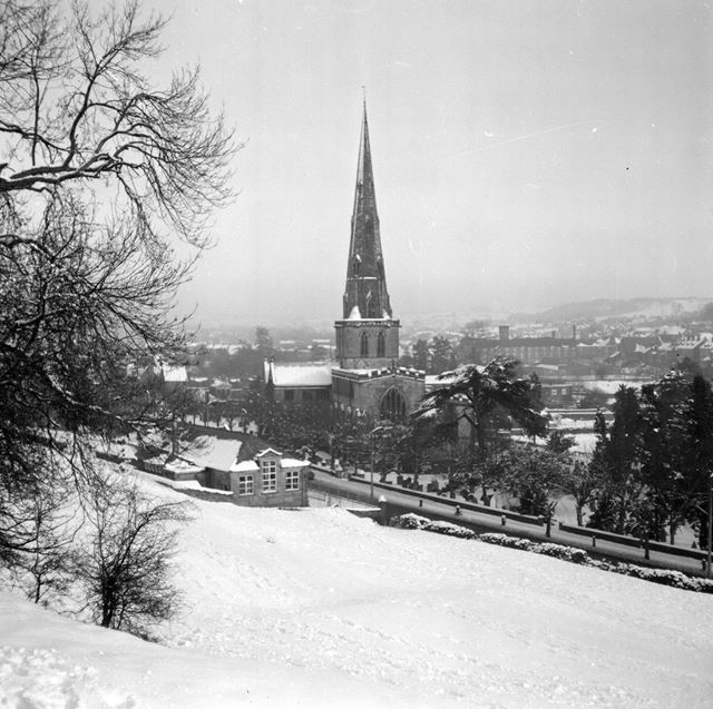 View of St Oswalds Church in snow