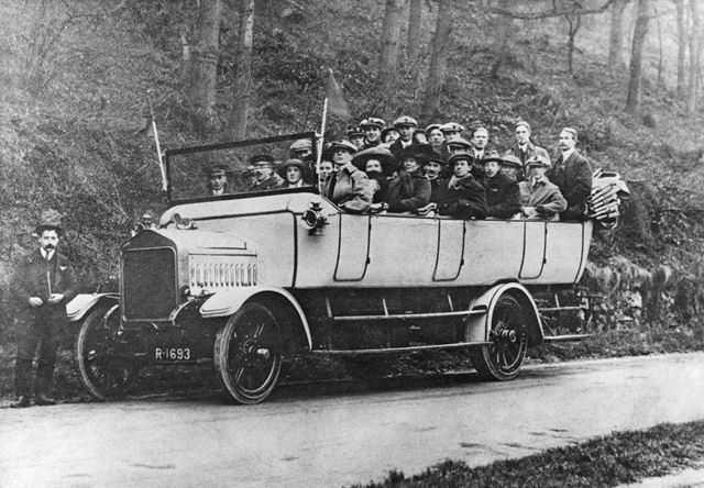 Charabanc carrying the Matlock Thursdays football team, Via Gellia, 1919 ?