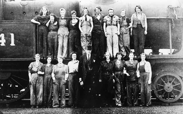Cleaners from Rowsley Railway shed during World War 2.