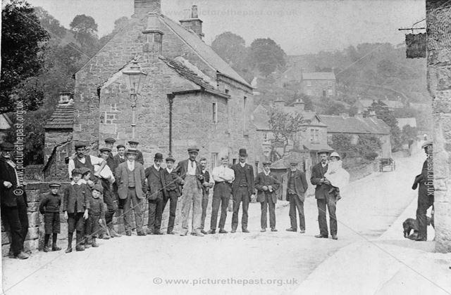 Inhabitants of Two Dales standing on the bridge, c 1910