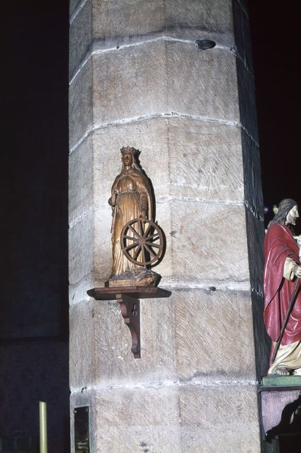 St. Katherene statue on pillar, St. Mary's and All Saints Church, Chesterfield