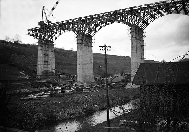 Viaduct under construction, 1940s