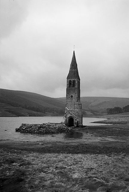 Derwent Church Tower during Drought at Ladybower Reservoir, 1940s
