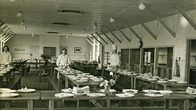 The Dining Room Prepared for Tea Time, Amber Valley Camp School, Woolley Moor, c 1940s?