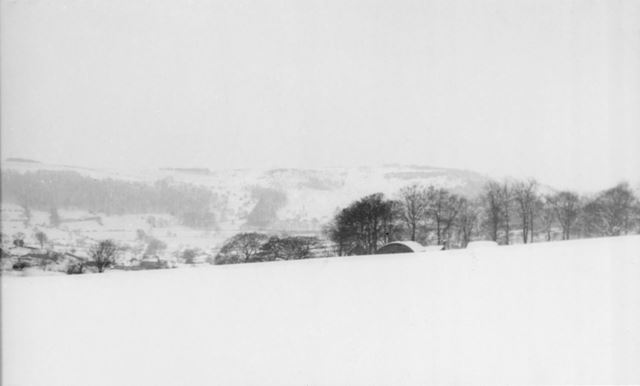 View of Camp in Snow, Amber Valley Camp School, Woolley Moor, 1947