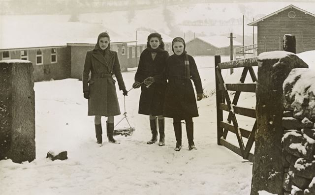 Girls with Sledge at Camp Gates, Amber Valley Camp School, Woolley Moor, 1947