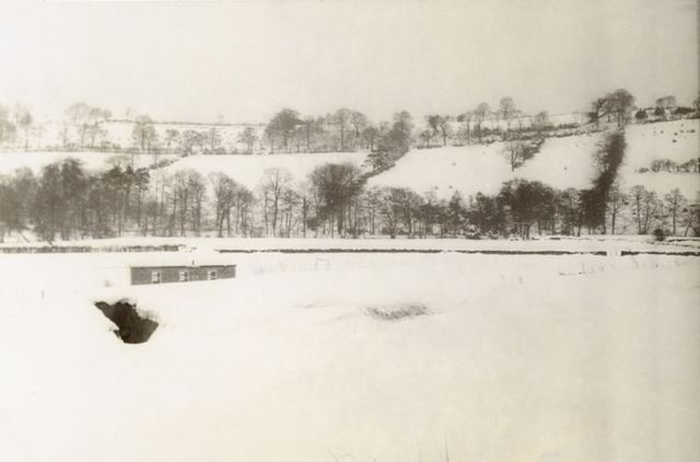 View of Camp in Snow, Amber Valley Camp School, Woolley Moor, 1947