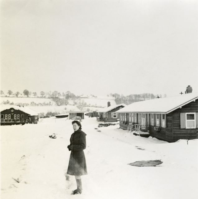 Amber Valley Camp School in Snow, Woolley Moor, 1947
