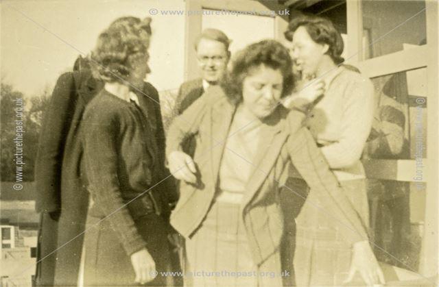 An informal glimpse of staff, Amber Valley Camp School, Woolley Moor, c 1940s-50s