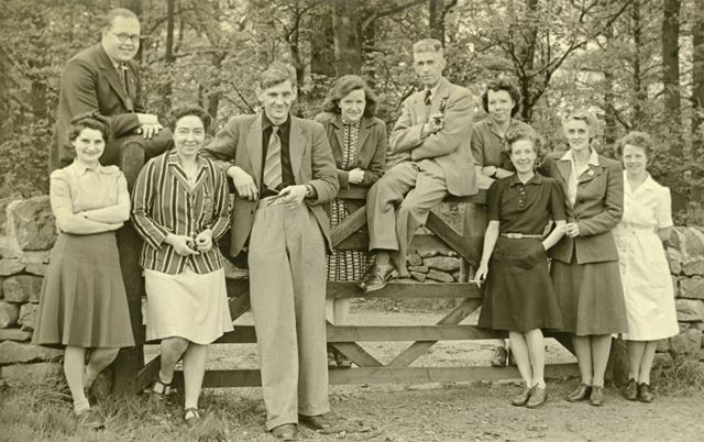 Group of Staff, Amber Valley Camp School, Woolley Moor, c 1940s-50s