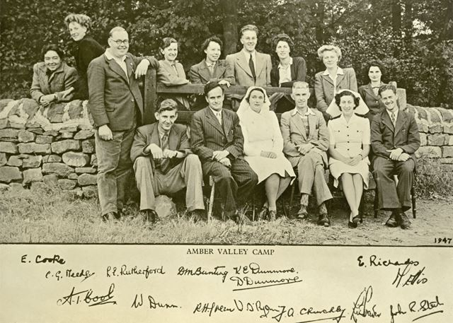 Group of Staff, Amber Valley Camp School, Woolley Moor, summer 1947